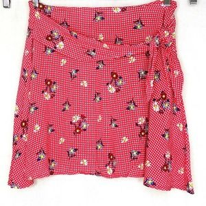 Everly Skirt A-line Gingham Check Floral  Size L